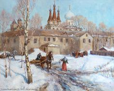 http://www.russianfineart.com/catalog/prod?productid=25468 Easter Will Come Soon.  Spring In Monastery Alexander Svirsky - oil, canvas  Russian Painter: Maria Lazareva