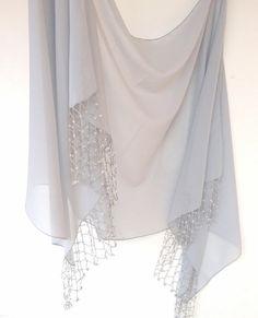 gray scarf wedding scarf shawl wrap women scarf sheer scarf bridal chiffon bridemaids gifts for her for mom senoAccessory