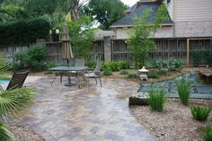 I really like the contrasting colors in the natural stone patio in this photo.  I have been wanting to put in a patio in the backyard for a while now.  I think something similar to this would look great.