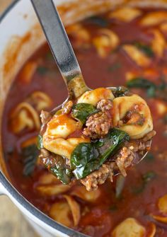 Fall Soups Guaranteed to Warm You Right Up You won't get enough of this tortellini soup with Italian sausage and spinach.You won't get enough of this tortellini soup with Italian sausage and spinach. Crock Pot Recipes, Fall Soup Recipes, Cooking Recipes, Healthy Recipes, Italian Soup Recipes, Winter Recipes, Healthy Fall Soups, Fall Dinner Recipes, Recipes With Kale Soup