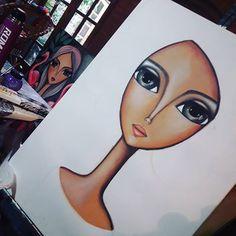 Romi Lerda Art (@romi_lerda_art) | Instagram photos and videos Painting Of Girl, Painting & Drawing, Drawn Art, Indian Art Paintings, Arte Pop, Naive Art, Whimsical Art, Art Plastique, Beautiful Paintings