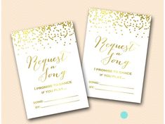 Gold Confetti Request a Song Card | Printabell • Express