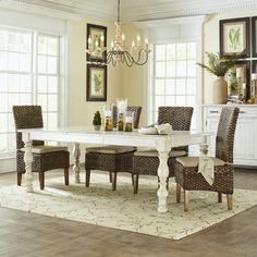 White Wooden Rectangle Table With Rattan Chair Using Cream Upholstered Seat In Dining Room With Chandelier As Well As Antique White Dining Tables And Antique White Pedestal Dining Table