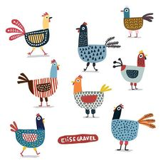 Poules is an original digital art print by Elise Gravel . Each 8 x 8 inch archival quality giclée print is a signed and numbered limited edition, pri Vogel Illustration, Chicken Illustration, Rooster Illustration, Chicken Drawing, Chicken Art, Chicken Outline, Chicken Crafts, Elise Gravel, Chickens And Roosters