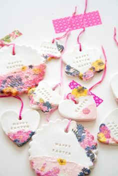 DIY Clay Ornaments - Love the punch of color! You can personalize them with whatever text you want. Would make great gift tags!