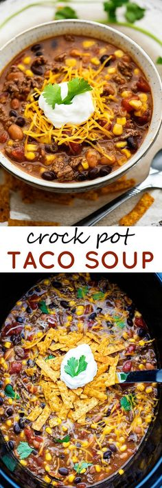 Super easy, homemade crock pot taco soup! This is the perfect busy weeknight dish. Just throw everything into a pot and let it simmer away. Your family will love how good this tastes and it's totally kitchen mess free!