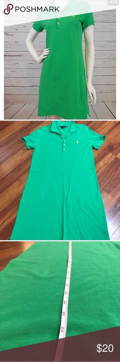 Ralph Lauren Sport Dress Ralph Lauren Sport Dress, size Large. No stains/holes, minimal wear. Green with yellow horse. 100% cotton. Length is about 37 in and bust is about 18 in. Ralph Lauren Dresses