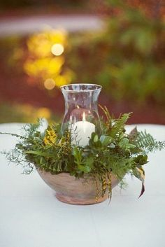 Vintage Decor Rustic - For a twist on your floral arrangements, using foliage and greenery will give you a lush look for your wedding decor. Rustic Wedding Centerpieces, Flower Centerpieces, Wedding Decorations, Centerpiece Ideas, Simple Centerpieces, Graduation Centerpiece, Wedding Ideas, Fern Centerpiece, Wedding Rustic