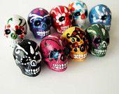 10 Large Sugar Skull Beads - ceramic, skull, skulls, peruvian, day of the dead, dia de los muertos, halloween - LG600