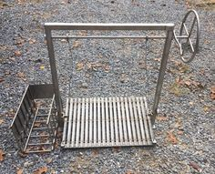 Stainless Steel Argentine Grill Kit for wood or charcoal grilling with side brasero