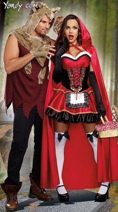 Little Red And The Wolf Couples Costume, Men& Sexy Bad Wolf Costume, Little Red Costume, Sexy Red Riding Hood Costume, Little Red Riding Hood Costumes Little Red Riding Hood Halloween Costume, Red Riding Hood Costume, Couple Halloween Costumes, Halloween Kostüm, Halloween Customs, Halloween Outfits, Big Bad Wolf Costume, Adult Disney Costumes, Red Riding Hood Wolf
