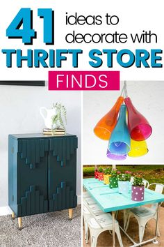 Check out these 41 thrifted items you can turn into beautiful furniture or home decor. Ideas on what to look for at thrift stores, garage sales, and flea markets 41 ideas to repurpose and upcycle thrift store finds for your home decor. Make those old, vintage items useful again. #thrifted #upcycle #repurpose #thrifting #thriftingtips