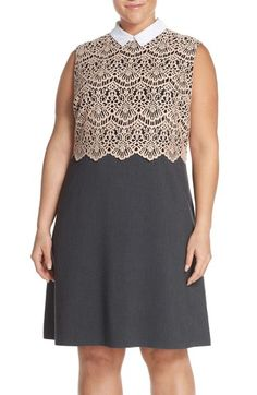 Halogen® Removable Collar Lace Bodice Fit & Flare Dress (Plus Size) available at #Nordstrom