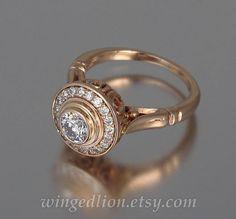The SECRET DELIGHT 14k gold engagement Diamond ring by WingedLion