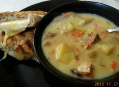 """Creamy Hambone, Bean and Veggie Soup Recipe 