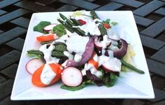 Grilled Vegetable Salad with Creamy Blue Cheese Dressing