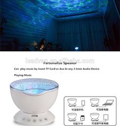 Home Decorative Night Light Romantic Hypnosis Music Ocean Wave Projector  Night Light With Remote Control