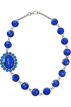 Miu Miu  Plexiglass crystal brass necklace