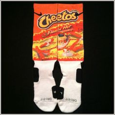 Flamin' Hot Cheetos Custom Nike Elite Crew Socks by IconicCases. Oh yess Nike Socks, Cheetos, World Of Sports, Crew Socks, Bad Boys, Fitness Fashion, Feelings, Hoodies, Hot