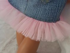 Jean Skirt With Pink Nylon Chiffon Ruffle