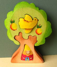 Gnome Flying Bird Tree Puzzle Wooden Toy Waldorf Toy | eBay