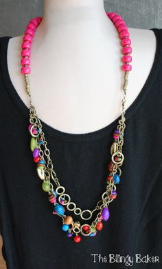 """""""Parade"""" necklace (multicolor) with a single-strand of """"Lipstick"""" Necklace (hot pink/red)."""