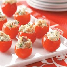 BLT Bites Recipe -These quick hors d'oeuvres may be mini, but their bacon and tomato flavor is full size. I serve them at parties, brunches and picnics, and they're always a hit...even my kids love them. —Kellie Remmen, Detroit Lakes, Minnesota