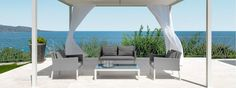 Design: Technical Department Talenti Upper Alu is self-standing pergola, the structure is in aluminimum with the fixed water-repellent fabric, covered with 240 Beach Furniture, Outdoor Furniture Sets, Furniture Ideas, Outdoor Spaces, Outdoor Living, Outdoor Decor, Sofas, Aluminum Pergola, Outdoor Armchair