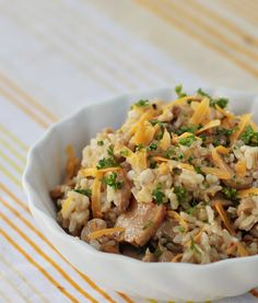 Cheese and mushrooms rice: If stirring rice in broth for half an hour to make risotto isn't your thing, try this easier way to make a risotto-like rice dish.