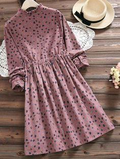 Leaf Print Women Long Sleeve Stand Collar Drawstring Dresses is high-quality, see other cheap summer dresses on NewChic. Types Of Sleeves, Dresses With Sleeves, Cheap Summer Dresses, Sweet Dress, Muslim Women, Dresses Online, Casual Dresses, Fashion Outfits, Clothes For Women