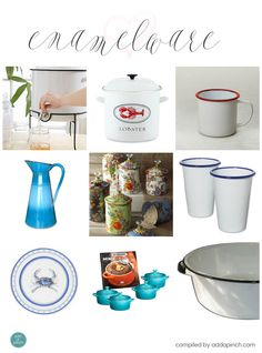 Enamelware is such a well-loved classic! It has served such utilitarian, everyday purposes for generations and is now decorating the homes  of many people of all ages.  from addapinch.com