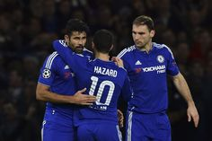 Eden Hazard and Branislav Ivanović celebrate with Diego Costa after his shot rebounded into the goal for an own goal off Porto's Spanish defender Ivan Marcano - Chelsea 2-0 Porto | 9 Dec 15