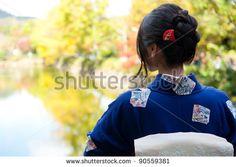 japanese kimono woman looking on the bridge