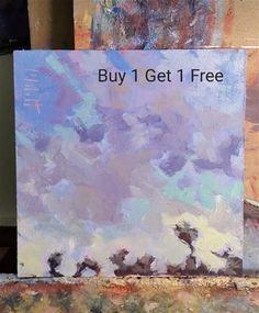 "Daily Paintworks - ""Cotton Candy Sky Original Oil Painting Buy One Painting Get One Painting Free"" - Original Fine Art for Sale - © Heidi Malott"