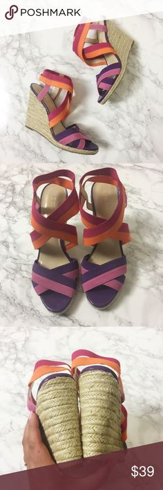 NWOT Enzo Angiolini Espadrilles Colorful elastic bands at toe and ankle. Espadrille wedges. Never worn. Enzo Angiolini Shoes Wedges