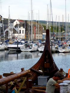 Dragon Harald Fairhair, Viking Long Ship from Norway visits Peel in the Isle of Man