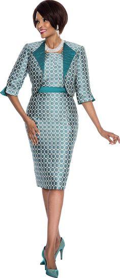 Terramina 7547 Teal Jacket & Dress Set