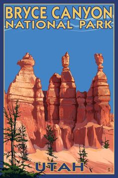 Bryce Canyon National Park (Three Hoodoos In Summer) by Lantern Press is printed with premium inks for brilliant color and then hand-stretched over museum quality stretcher bars. 60-Day Money Back Guarantee AND Free Return Shipping.