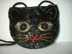{Black Beaded Cat Purse} wow!