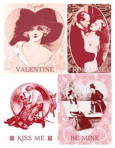 Freebie: Printable vintage valentines - set of 4 free cards.