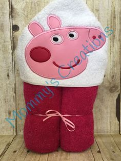 "Pink Pig Applique Hooded Bath, Beach Towel 30"" x 54"" by MommysCraftCreations on Etsy"