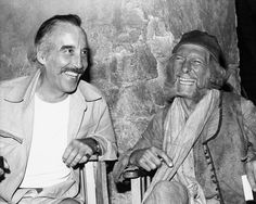 Eternal friends Christopher Lee and Peter Cushing having a great time in the set of Arabian Adventure