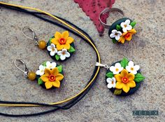 polymer clay daffodil  necklace and earrings by zeitx
