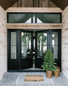 43 home front door design that will make your home awesome exterior 23 Black Front Doors, Black Exterior Doors, Double Front Doors, Exterior Windows, Brick Home Exteriors, Exterior Glass Doors, Black Trim Exterior House, Exterior Doors With Sidelights, Stone Exterior Houses