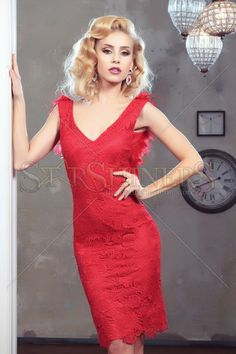 Rochie LaDonna Exquisite Feather Red