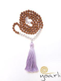 Bergkristall - Angel Aura Quarz Rudraksha Mala 108  - ein Designerstück von Yoarli bei DaWanda