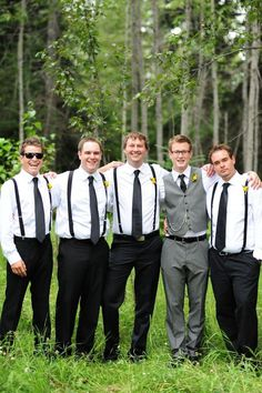 Groom and groomsmen looks.- Though brown instead of black/grey, bow-ties all around, and sleeves rolled up. Otherwise this is it exactly.