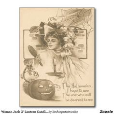 Woman Jack O' Lantern Candle Spider Web Postcard