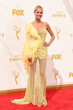 Heidi Klum in Versace at the 2015 Emmys. See what all the stars wore to the ceremony.