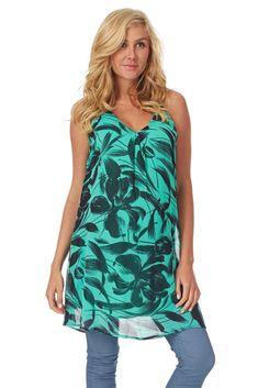 Green-Black-Abstract-Printed-Maternity-Tunic